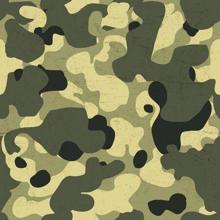 防衛: ミリタリー迷彩シームレス パターン。傷高齢テクスチャのベクトルの背景