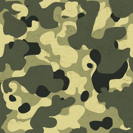 defence: Military camouflage seamless pattern. Vector background with scratched aged texture