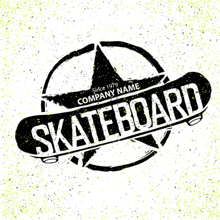 skateboard: Vintage Skateboard icon. With star in circle sign. Can be used to print on T-shirts Illustration