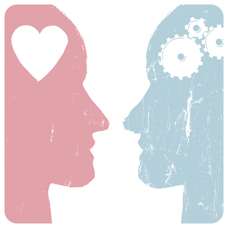 black woman face: Man and woman profiles. Relations concept. Gears and heart. Grunge styled. Abstract unrecognizable faces. Vector illustration.