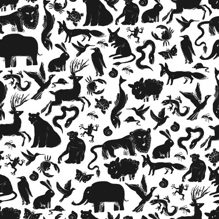primate biology: Group of Animals Silhouettes. Zoo Seamless Pattern