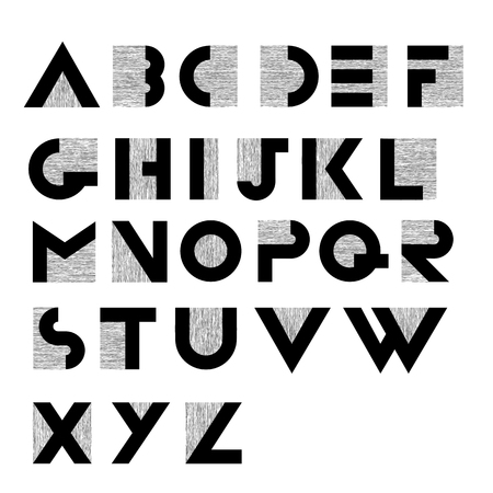 font design: Wide decorative retro alphabet Illustration