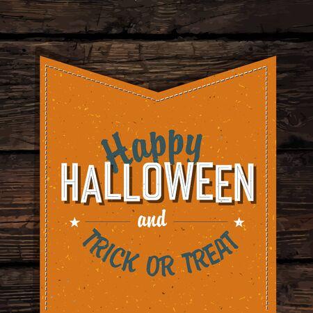 vintage design: Happy Halloween VIntage Tag Design On Old Scratched Planks. Vector Illustration