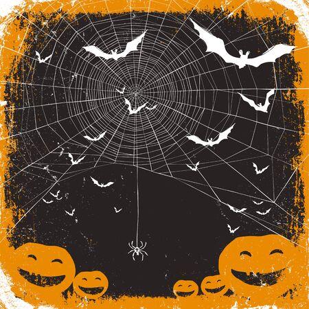 spider web: Halloween vector illustration. Spider web, pumpkins and bats