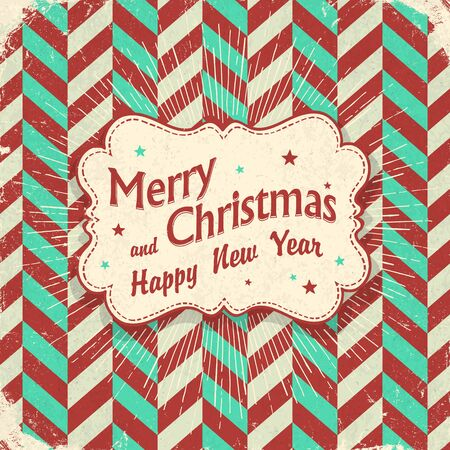 retro christmas: Christmas retro card design. Lettering on vintage label with rays. On chevron  aged pattern Illustration