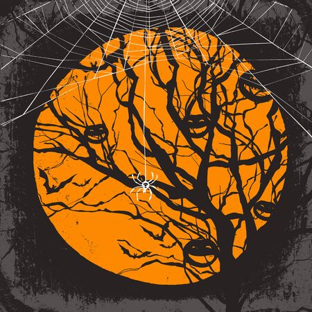 spider web: Halloween vector background. Dry tree and spider web