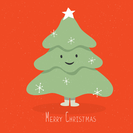 christmas cute: Happy and smile Christmas Tree Character. Vector cartoon illustration