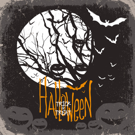 halloween background: Halloween vector illustration. Dry tree, full moon and pumpkins and bats