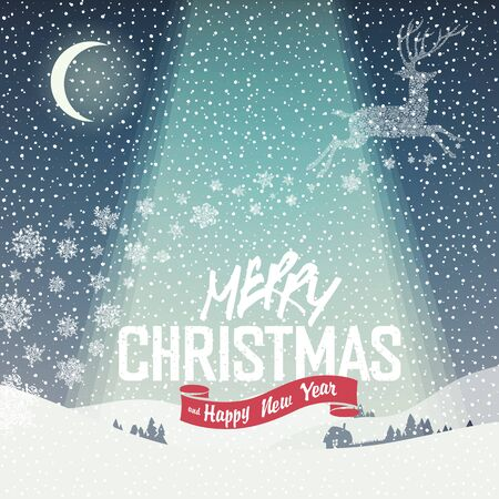 snow background: Merry Christmas Card. Calm Winter Scene Illustration. Merry Christmas Lettering