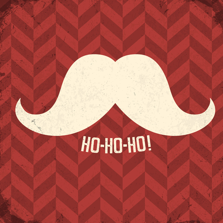 whisker characters: Vintage poster with Santa mustache and ho-ho-ho! word.