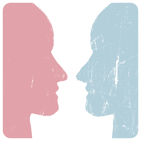 profil: Mężczyzna i kobieta profile. Koncepcja Relations. Grunge stylu. Abstrakt nierozpoznawalne twarze. ilustracji wektorowych.