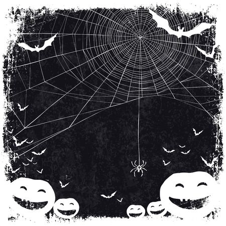spider: Halloween themed background with space for text. Halloween symbols - pumpkins, bats, spider web. Illustration