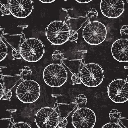 黒グランジ背景にビンテージ自転車のシームレス パターン  イラスト・ベクター素材