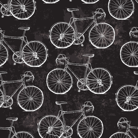 Vintage Bicycles Seamless Pattern on Black Grunge Background