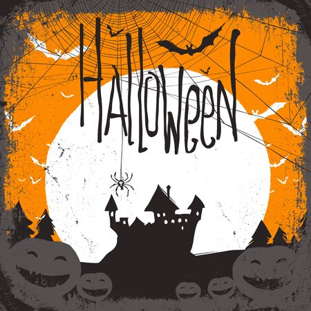 haunted: Halloween vector illustration with haunted castle