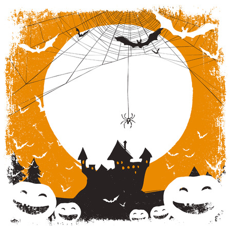 haunted tree: Halloween illustration with huanted castle and spider web and space for text