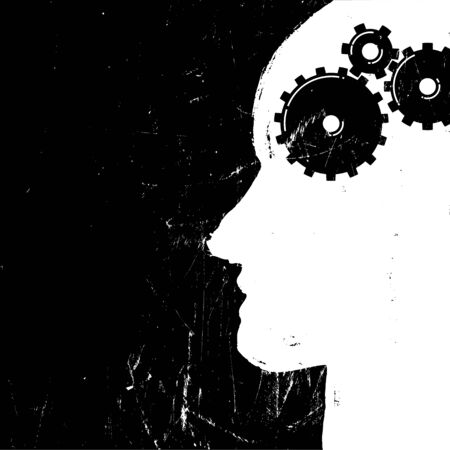 piktogramm: Gear in head piktogramm. Solution or imagination or engineering concept. Grunge styled. Vector illustration.