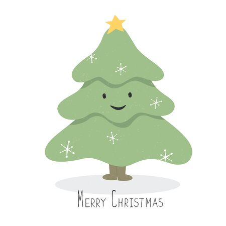 happy smile: Happy and smile Christmas Tree Character. Vector cartoon illustration