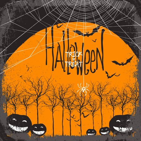 spider web: Halloween vector background. Dry tree and pumpkins. Full moon and bats. Spider web Illustration
