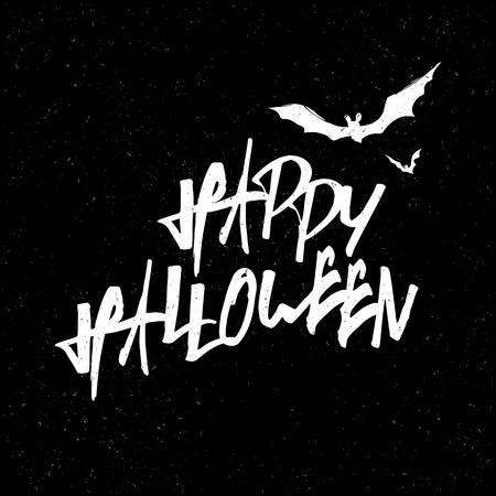 black textured background: Happy Halloween Lettering. White letters on Black textured background. With bats silhouettes. Illustration