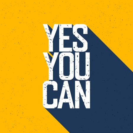 """you can: cartel de motivación con las letras """"Sí puedes"""". Sombras, en amarillo textura de papel."""