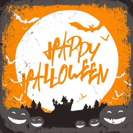 necrosis: Halloween vector illustration with haunted castle