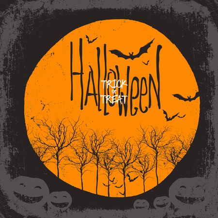 necrosis: Halloween vector background. Dry tree and pumpkins. Full moon and bats