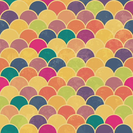 fish scale: Asian fish scale retro pattern. Colorful, grunge and seamless. Grunge effects can be easily removed. Vectores