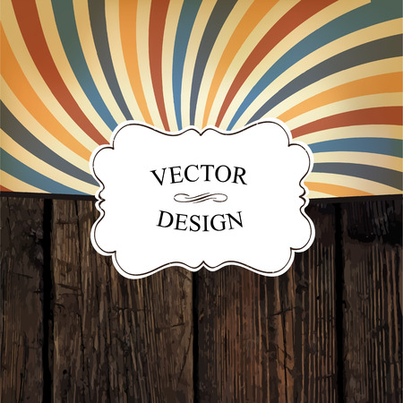 farewell: Vintage styled design template. Vector texture and colorful rays. Vintage white label