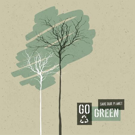 green paper: Save Nature Concept Illustration. Trees on Cardboard Realistic Background. Go Green Headline with Reuse Symbol. Vector illustration.