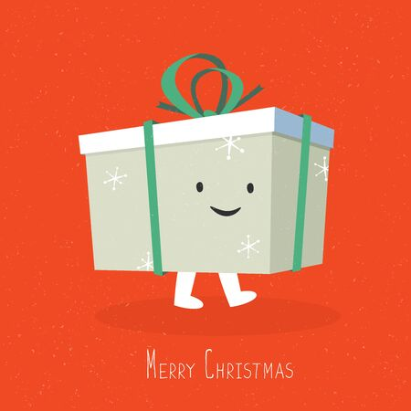 happy smile: Happy and smile Christmas Gift Box Character. Vector cartoon illustration