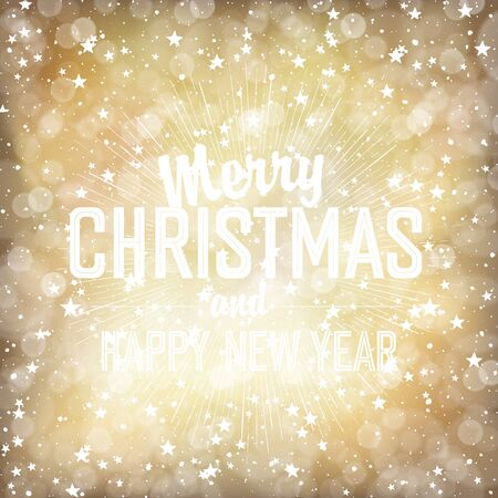 stars background: Merry Christmas Lights Background with Christmas Lettering