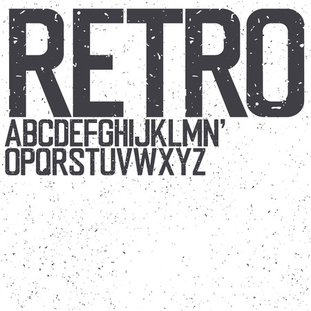 uppercase: Classic Retro Uppercase Font. Set include textured background for designs Illustration