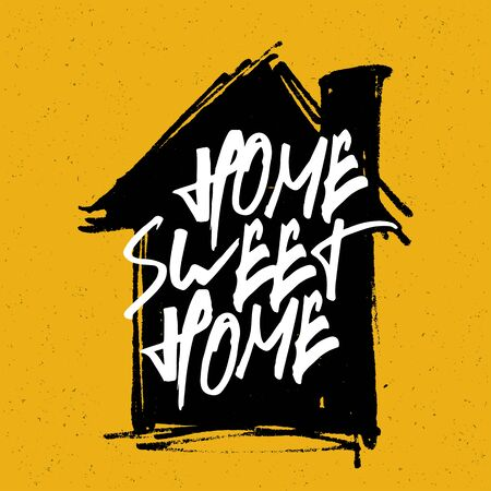 housewarming: Home sweet home poster. Calligraphy with house hand drawn silhouette on yellow background.