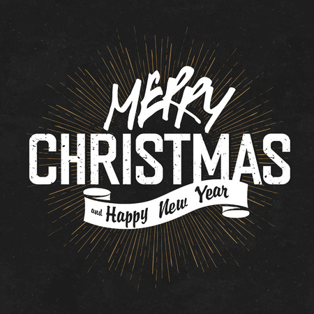 radial background: Vintage Merry Christmas And Happy New Year Calligraphic On Blackboard Background