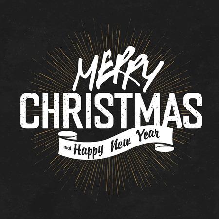 sunburst: Vintage Merry Christmas And Happy New Year Calligraphic On Blackboard Background