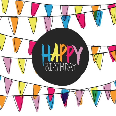 happy birthday text: Happy Birthday Lettering On Holidays Pennant Bunting Illustration