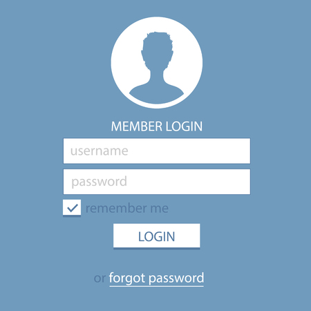 login button: Member Login Template. Simple and Flat.