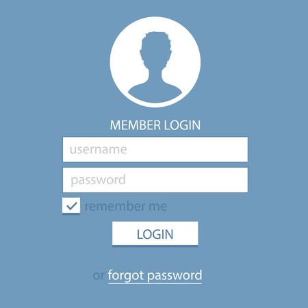 passwords: Member Login Template. Simple and Flat.
