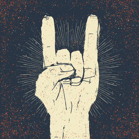 Grunge rock on gesture illustration. Template for your slogan, text, etc. Ilustração