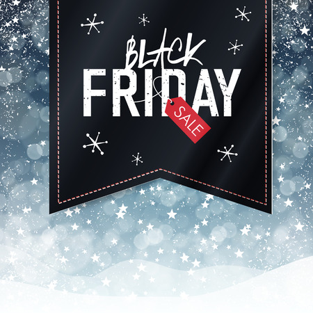 black: Black Friday sales Advertising Poster with Snow Fall Background. Christmas sale
