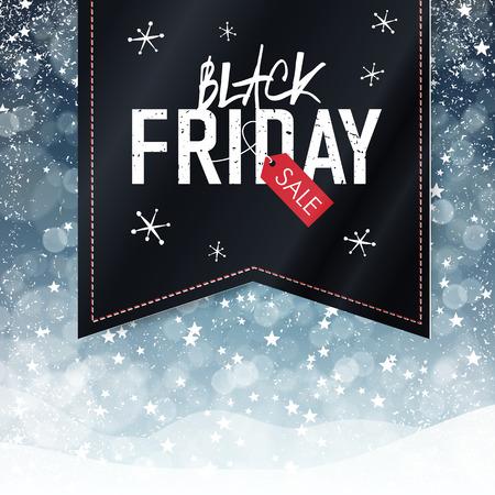 schwarz: Black Friday Sales-Werbungs-Plakat mit Schnee-Fall-Hintergrund. Weihnachten Verkauf