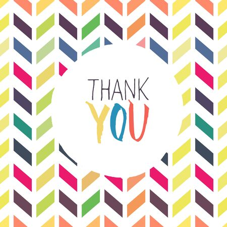 respecting: Thank you card with chevron colorful background Illustration