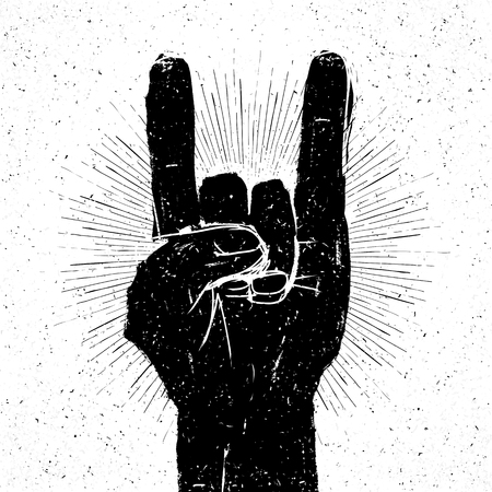 poster: Grunge rock on gesture illustration. Template for your slogan, text, etc. Illustration