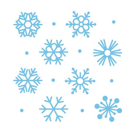 schneeflocke: Einfache Wohnung Snowflakes Icon Set Illustration