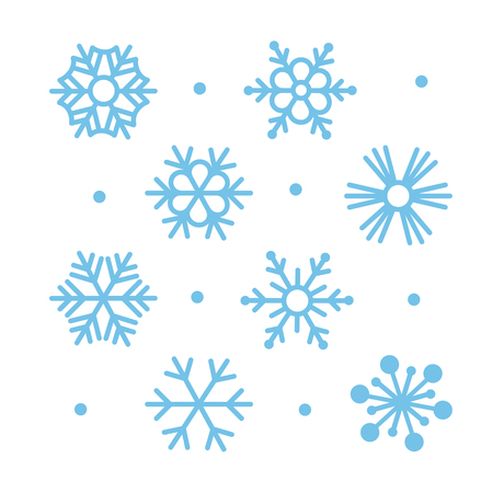 flocon de neige: Simple Snowflakes plates Icon Set Illustration