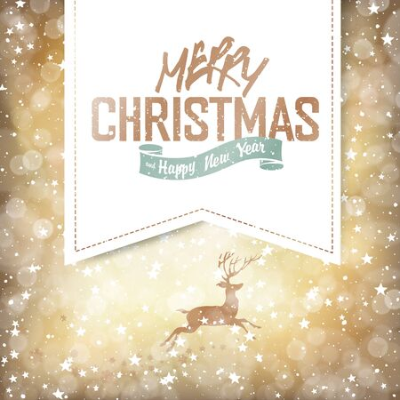 christmas lights: Merry Christmas Lights Background with Christmas Deer and Greetings