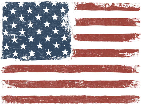 american states: American Flag Grunge Background. Vector Template. Horizontal orientation.