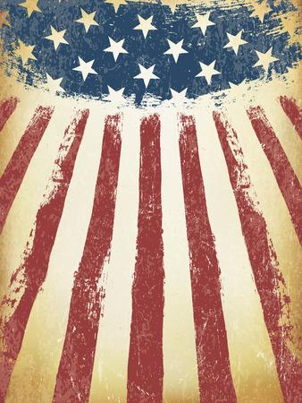 Grunge Aged American Flag Background. Vector Template. Illustration