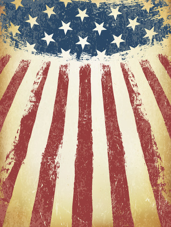 Grunge Aged American Flag Background. Vector Template. Vettoriali